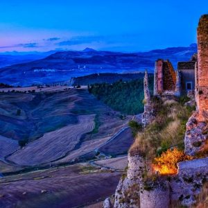 fine art print the castle at dusk pietraperzia sicily italy
