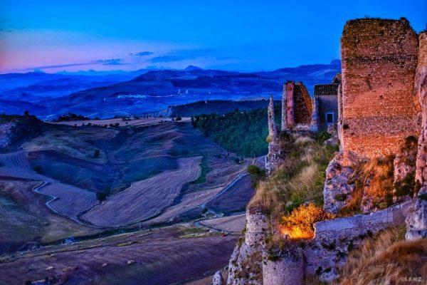 fine art print the castle at dusk pietraperzia sicily italy