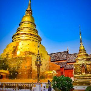 fine art print wat phra singh chiang mai thailand