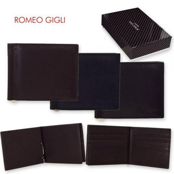 Romeo Gigli Calf Leather Money Clip Wallet